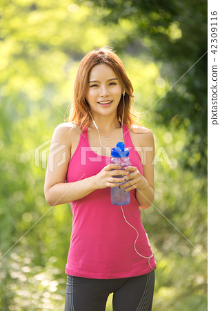 여성, 여자, 운동, 스트레칭 42309116