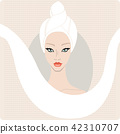 Beautiful woman keep hair wrapped in a towel. SPA banner design template,hand drawn vector 42310707