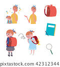 書包兒童的父母插圖集 42312344