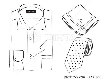 Men's Business Item Y Shirt Handkerchief Tie Illustration 42316825