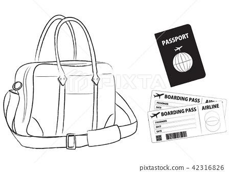 Men's business item Boston bag passport boarding pass Illustration 42316826