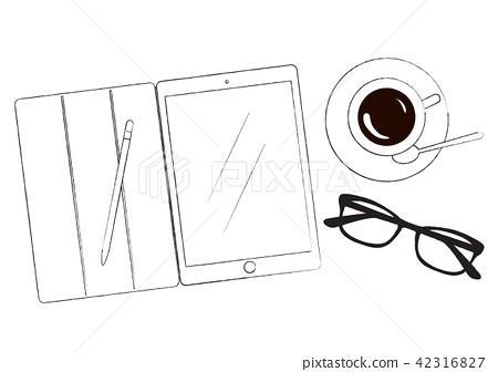 Men's business item tablet glasses coffee cup illustration 42316827