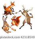 Group of funny musician animals with conductor. 42318549