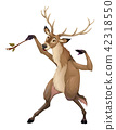 Funny deer is playing with branch like a conductor 42318550