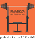 Barbell bench press in flat style, vector 42319969