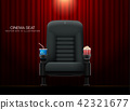 Cinema seat.Theater seat on curtain with spotlight 42321677