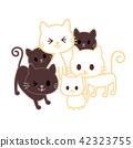 แมว,สัตว์,ภาพวาดมือ สัตว์ 42323755