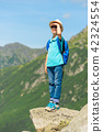 schoolboy traveler with a backpack high 42324554