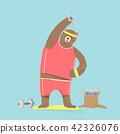 Cute bear cartoon character doing exercises 42326076