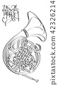Arts sketch of drawing French horn (black ink). 42326214
