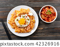 Kimchi fried rice with fried egg on top  42326916