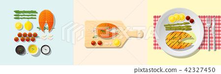 Set of salmon steak recipe 42327450