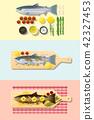 Set of salmon steak recipe 42327453