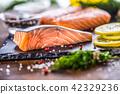Raw salmon fillet with dill lemon olive oil salt 42329236