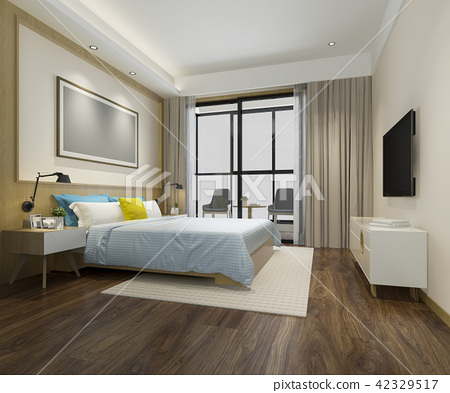 wood minimal style colorful bedroom 42329517