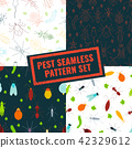 Set of 4 pest insects seamless patterns 42329612