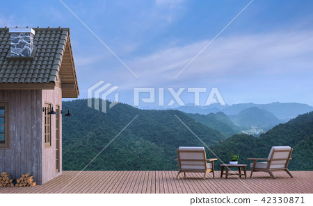 Cabin house with mountain view 3d render 42330871