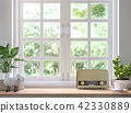 Wood shelf located by the window 3d render 42330889