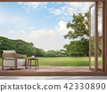 Wood terrace with garden view 3d render 42330890