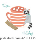 Raccoon and cup of cacao. Christmas greeting 42331335