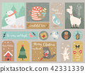 Christmas set, hand drawn animals and elements. 42331339