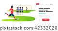 Football match free kick with opposing player set up defensive wall game situation goalkeeper 42332020