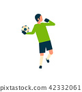 Football player goalkeeper throw the ball out isolated sport championship flat character full length 42332061