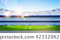 empty football stadium field view sunset flat horizontal 42332062