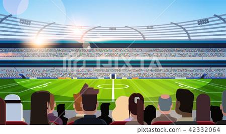 empty football stadium field silhouettes of fans waiting match rear view flat horizontal 42332064