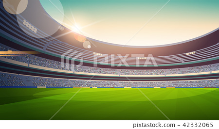 empty football stadium field view sunset flat horizontal 42332065
