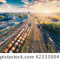 Aerial view of freight trains. Railway station 42333004