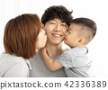 happy family mother and son kissing father 42336389