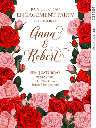 Vector engagement invitation card of roses flowers - Stock ...