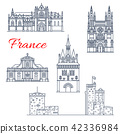 France travel vector Bordeaux architecture icons 42336984