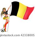 Beautiful young girl holding flag of belgium 42338005