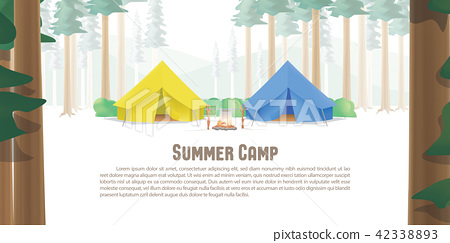 Summer Camp Poster or banner yellow & blue camp 42338893