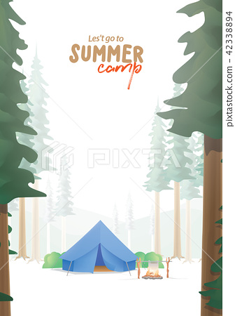 Summer Camp A4 Poster that the blue camp in forest 42338894