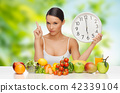 woman with food and clock showing six 42339104