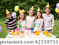 happy kids on birthday party at summer garden 42339733
