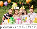 happy kids taking selfie on birthday party 42339735