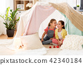 little girl playing tea party in kids tent at home 42340184