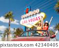 friends driving in convertible car at las vegas 42340405