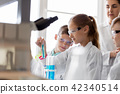 teacher and students studying chemistry at school 42340514