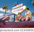 friends with camera driving in car at las vegas 42340600