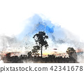 field landscape watercolor illustration painting 42341678