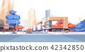 City street road skyscraper buildings view modern cityscape downtown billboard advertising 42342850