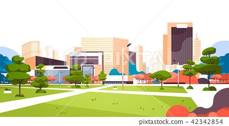 urban city park skyscraper buildings view modern cityscape downtown flat horizontal 42342854