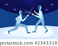 fencing man mask training duel swordsman arena male activity cartoon character full length 42343310