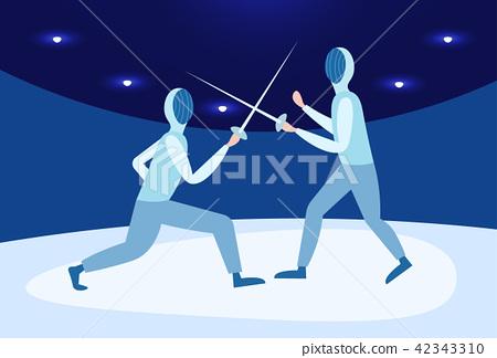 fencing man mask training duel swordsman arena male activity cartoon character full length 42343310
