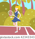 woman tennis player hold racket outdoor palm landscape background female sport activity cartoon 42343343